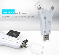 otg i-flash drive 4in1 cardreader for iphone/android memory up to 8g/16g/32g/64g sd/tf card potable storage