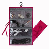 Hanging Waterproof Nylon Fabric 7 Pocket Jewelry Travel Organizer Storage Bag,Space Saving For Your Luggage,(Rose Red)