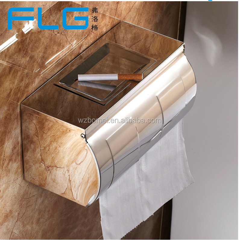 Unique Stainless Steel Toilet Roll Paper Holder With Ash