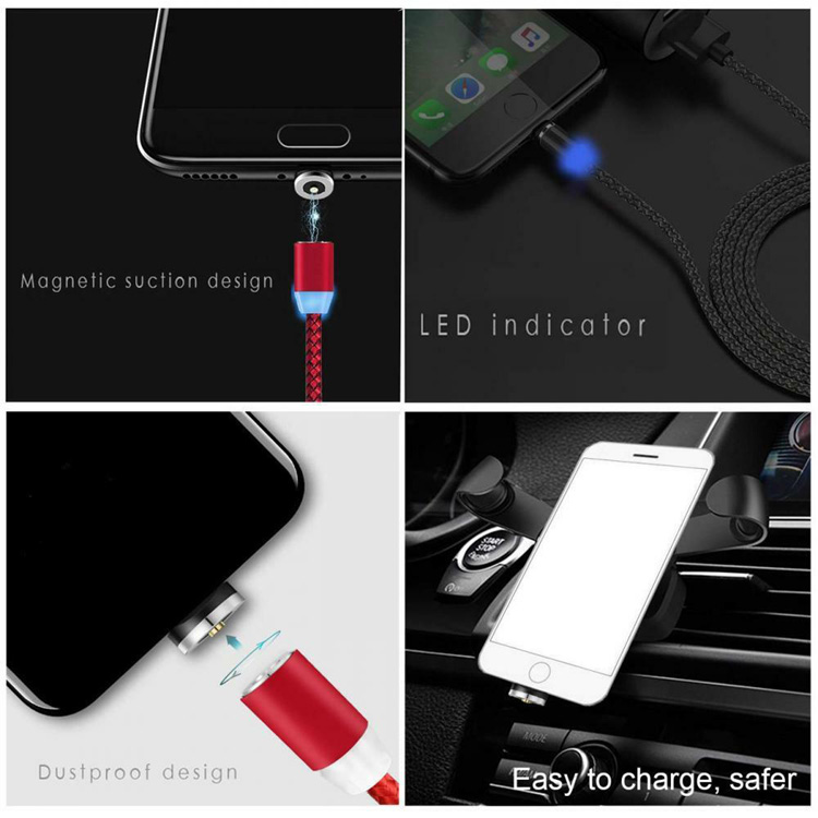 3 in 1 LED Magnetic Charging Cable Upgraded Nylon Braided Magnet USB data Cable for Samsung iPhone