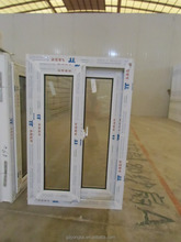 Customized uPVC/PVC Windows for drawingwith window grill design Two track sliding window with mosquito net