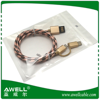 USB 2.0 2 in 1 type C and micro charging cable mobile phone accessories