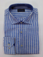 Mens linen stripes formal long sleeves shirts