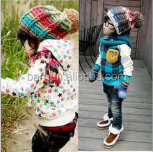 2015 Cool fashion children warm mixed colour winter crocheted hat