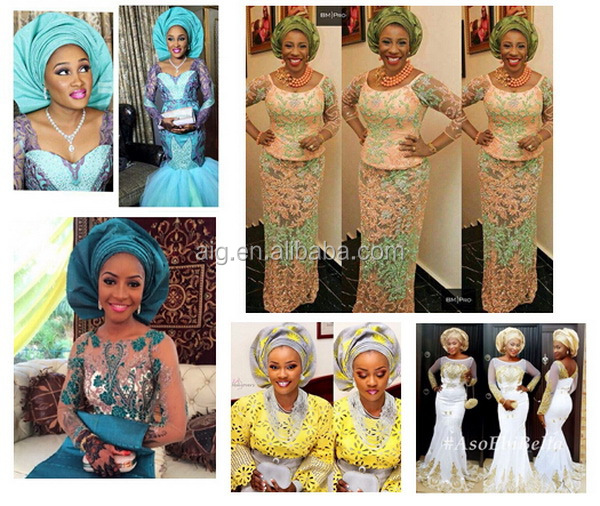 latest african embroidered wedding voile lace 2015