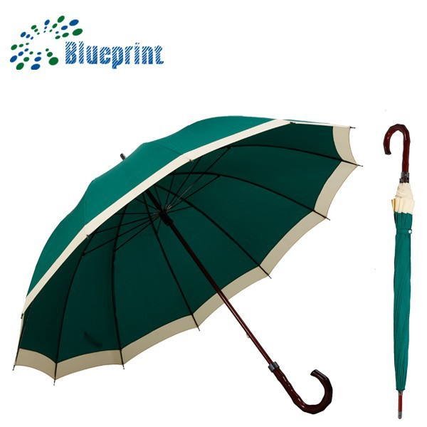 Cheap 27inches 12 ribs large green umbrella golf with windproof advertising golf umbrella