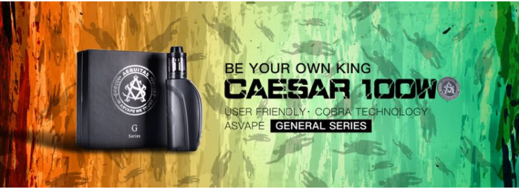 High Quality Asvape Caesar 100W Starter Kit With Single 18650 Battery