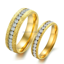 Unique Luxury Crystal Wedding Ring Shiny Sandblasted 316l Stainless Steel Jewelry 18K Gold Plated