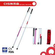 aluminum collapsible white canes folding walking stick for the blind
