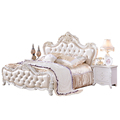 Bursa French Classic Wood Carving Wedding Leather Bedroom Furniture