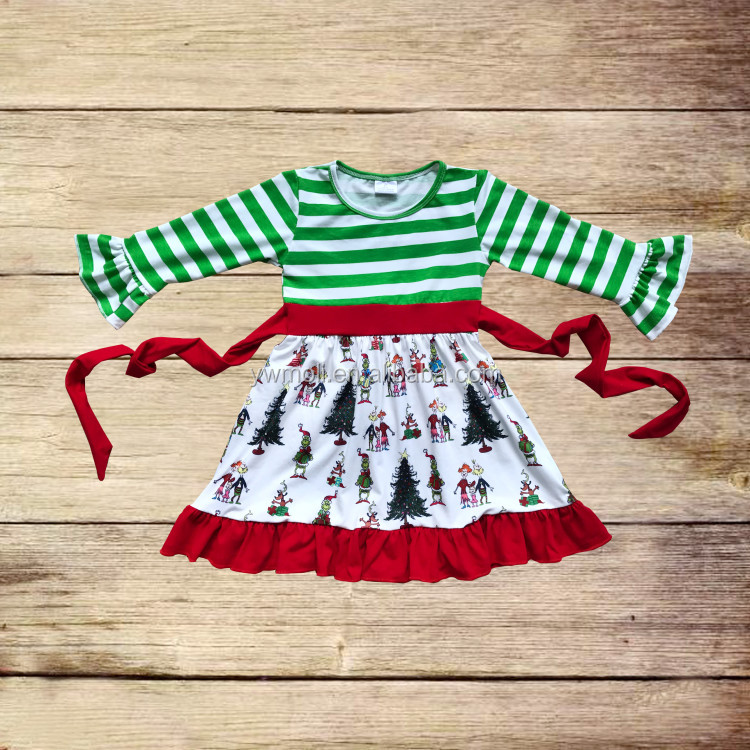 Fall/Winter Baby Girls Long Sleeve Ruffle Green White Stripe Christmas Pattern Dress Wholesale Children's Boutique Clothing