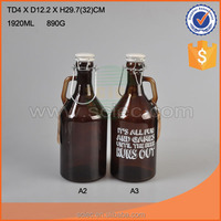 Clip Ceramic Lid 2 liter amber glass bottle for drinks