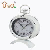 Shabby chic promotional gifts metal table clock