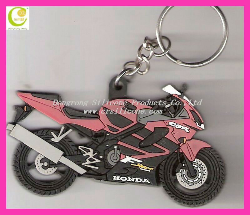 OEM/ODM novelty custom design high quality fashion pure silicone/pvc rubber motorcycle keyrings