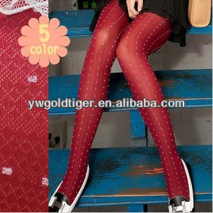 European Hosiery Celebrity Elegant Princess Style Hot Winter Warm Bright Red Dots Vertical Stripe Women Thick Winter Tights