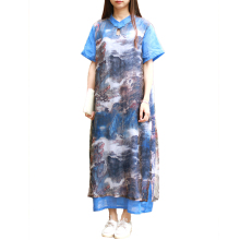 2018 Ladies Printed Maxi Dress Chinese Mandarin Collar Women Dress