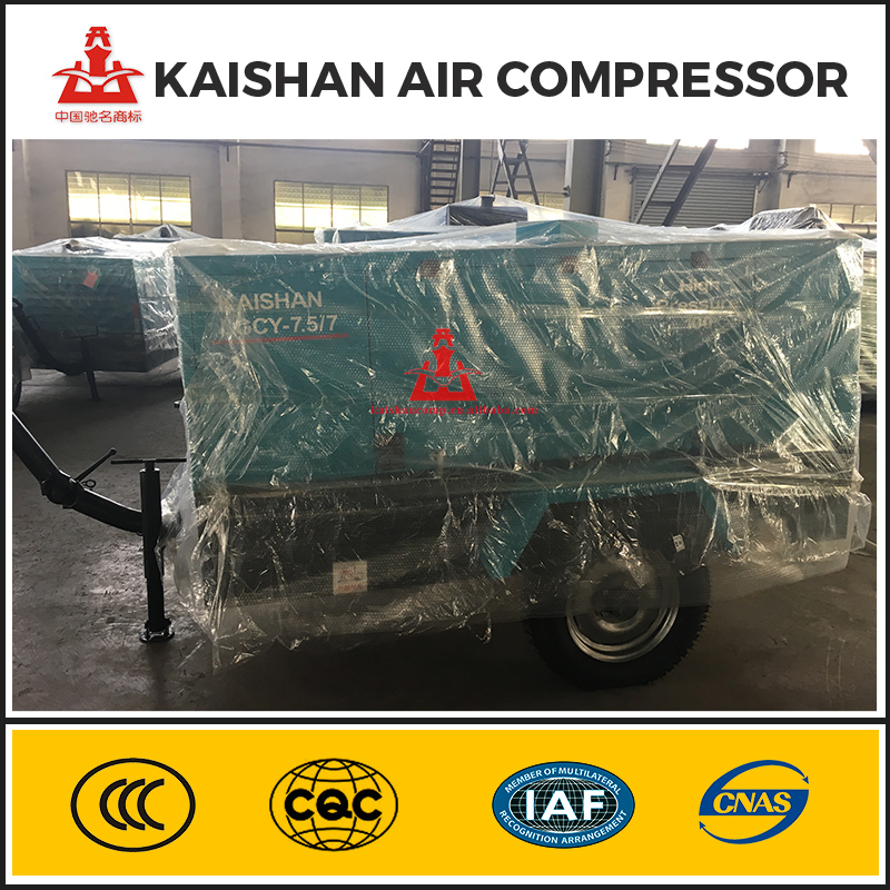 265cfm 7Bar Kaishan Air Cooling Diesel Portable Screw Air Compressor Used In Hydropower