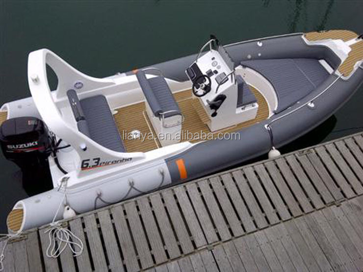 Liya pvc fishing boat semi-rigid inflatable boat 6.2m rib hypalon OEM factory