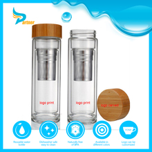 Heat Resistant Durable 450 ml Bamboo Lid Double Wall Glass Water Bottle With Tea or Fruit Infuser