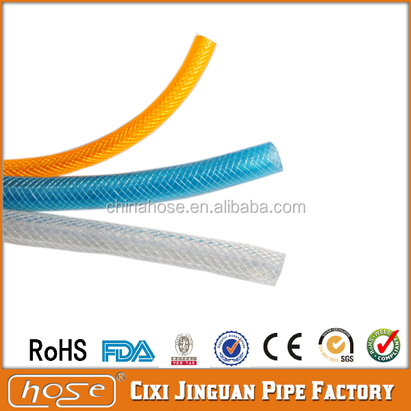 "Cixi Jinguan Wholesale 1/2"" 3/4"" 1"" PVC Garden Hose,Watering & Irrigation Braided Garden Hose,PVC Water Flexible Pipes"