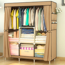 Modern Simple Folding Fabric Bedroom Wardrobe With Curtain Designs
