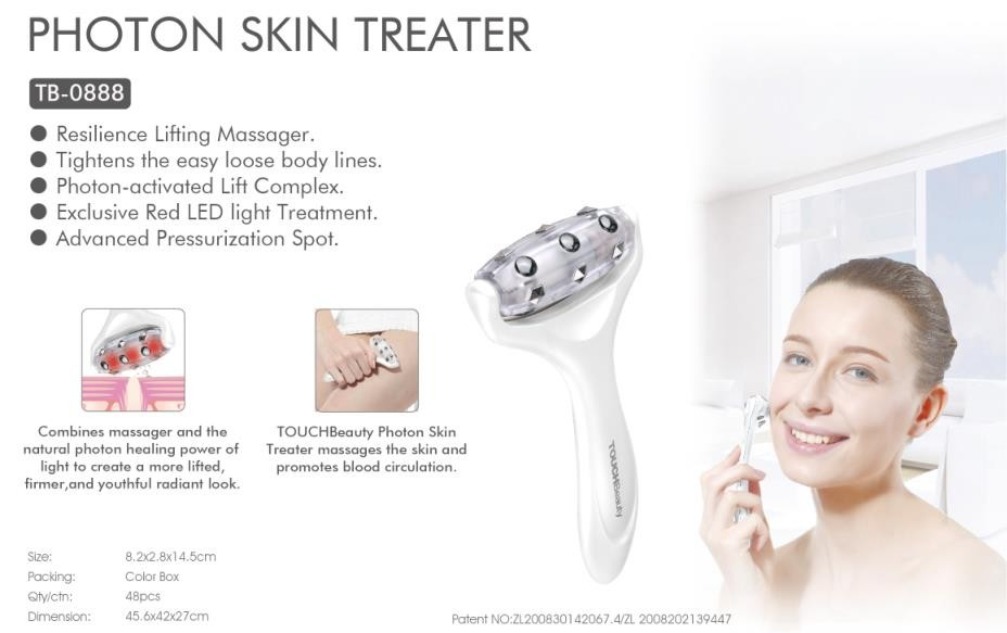 Photon skin beauty treater, skin massager device, face lifting, tighten body line