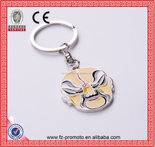 Chinese opera element keychain metal facial mask key chain