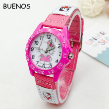 Cute Hello Kitty Dial Pink Leather Band Wrist Watch for Children