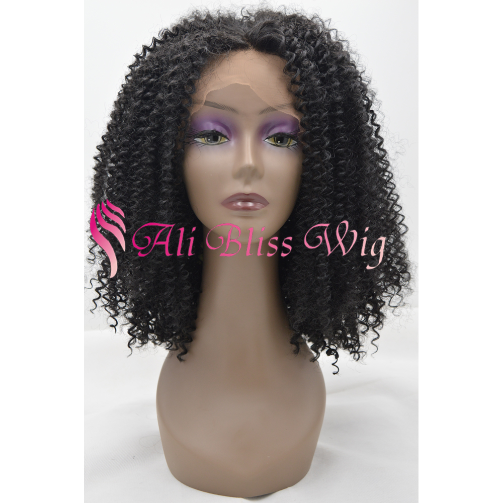Free shipping 16 inch Synthetic bohemian black kinky curl wig lace front natural wig for black women