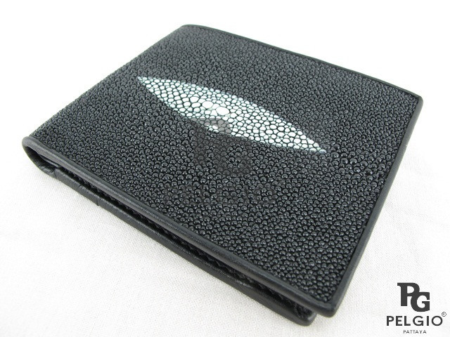 PELGIO Genuine Stingray Skin Men's Wallet Black