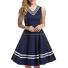 Western Country Apparel Women Summer 50's Vintage High Waist V-Neck Rockabilly Swing Party Cocktail Stretchy Dress