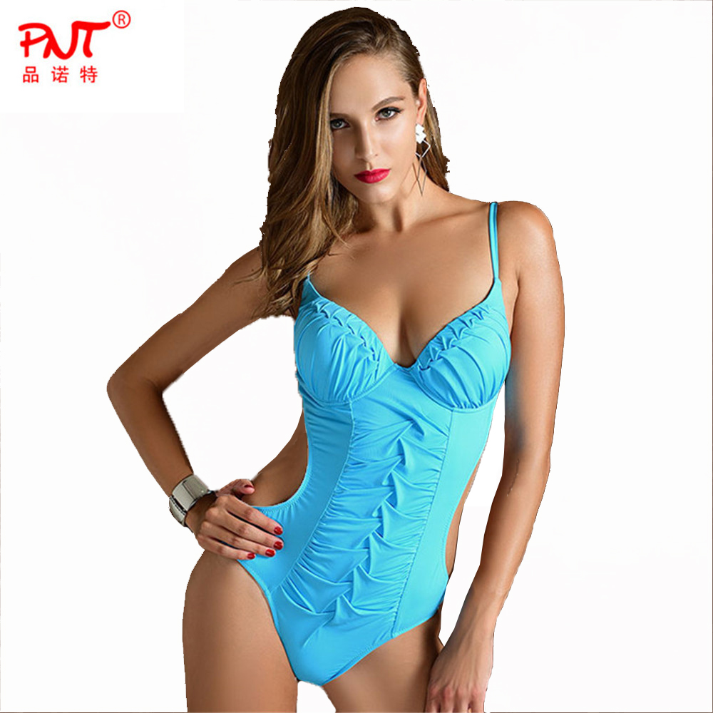 Summer Beach Mature Woman Fold Slim Girl Brazil Biquini Bandage Fashion Sexy one Piece Midriff Conjoined Swimsuit Swimwear 2016