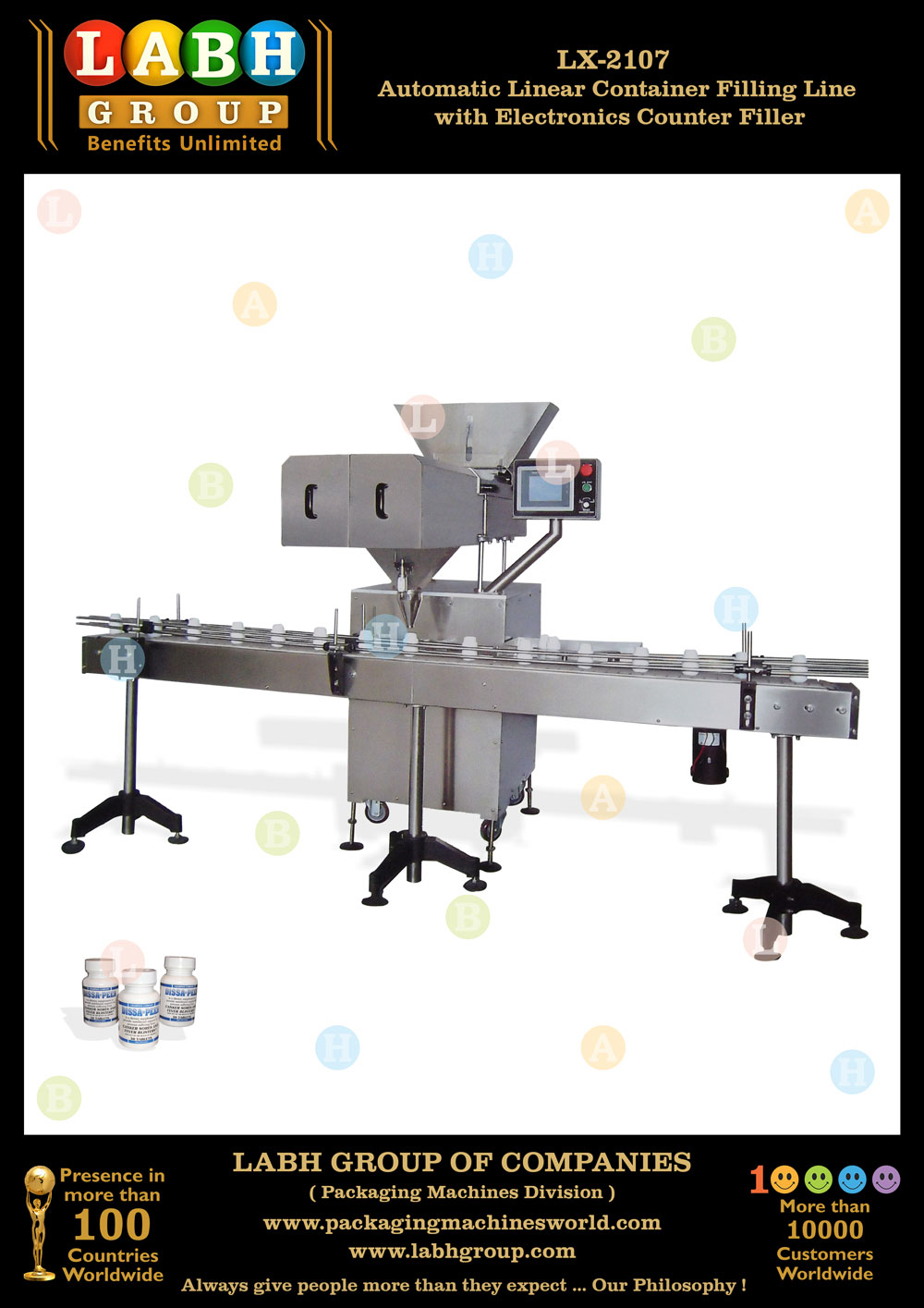Automatic Linear Container Filling Line with Electronics Counter Filler