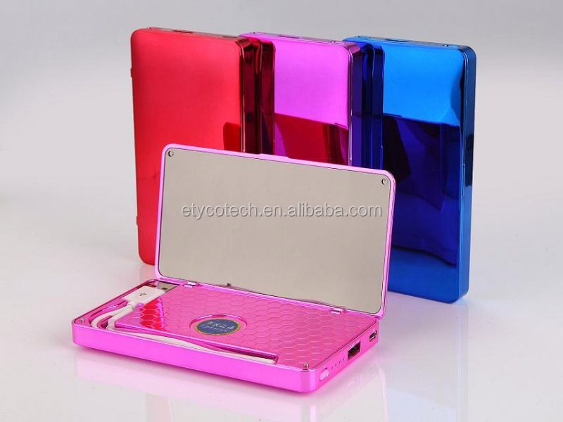 Newest Design portable lighted mirror power bank 4000mah