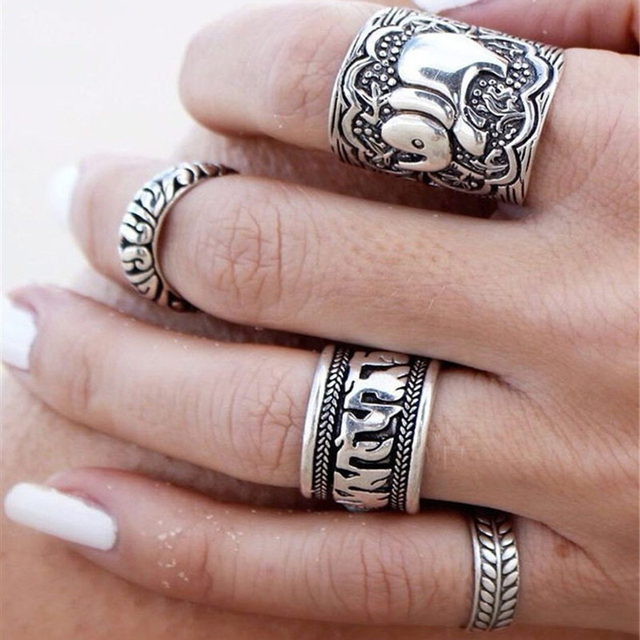 4PCS Vintage Punk Ring Sets Carved Antique Gold Plated Elephant Totem  Lucky Rings Anillos Anillos for Women Boho Beach Jewelry
