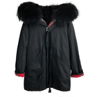 Women Winter Black Fur Coat Raccoon Collar Parka Jacket
