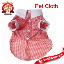 Trade Assurance China Wholesale, Pet Dog Cat Clothes, White Cuff Collar Plaid Costume