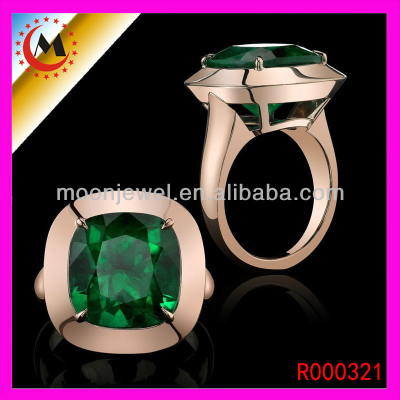 2015 HIGH QUALITY GOLD PLATED NATURAL EMERALD RING FOR MEN