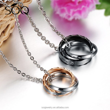 2017 couple chain necklace,magnetic diamond necklace pendants with cross double ring