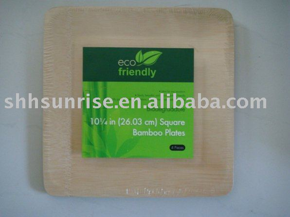 disposable biodegradable bamboo square plate/ biodegradable tableware