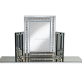 Multi model three folded MDF framed make up stand mirror with crystal