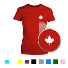 Canada Flag Pocket top Printed Red T Shirt Cute Women's O Neck Tee