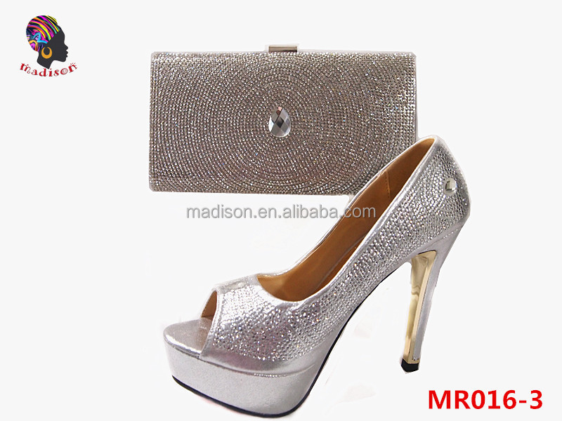 Gzmadison Nice crystal evening bag matching shoes and bag/Italian pencil heels shoes and bag set in silver/MR016-3