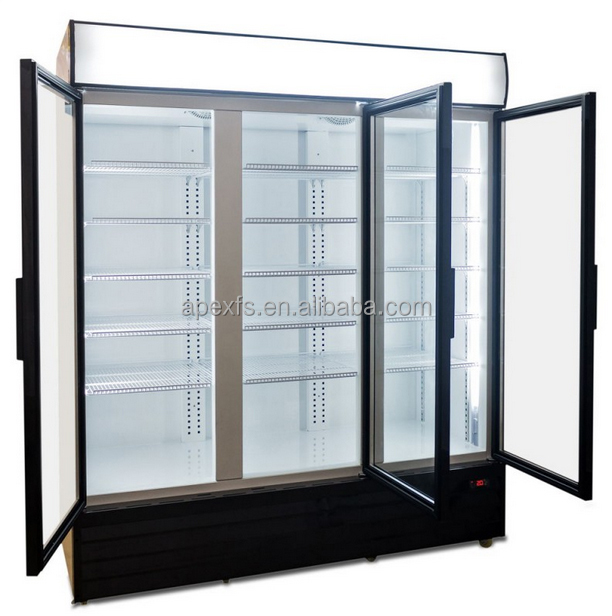 Three swing Door soft drink display cooler for pepsi and cola