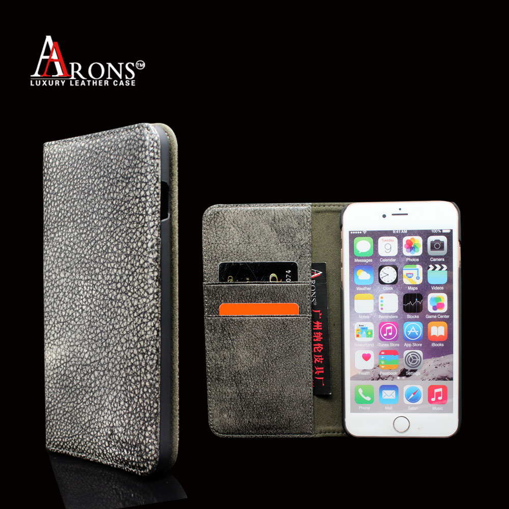 Luxurious brown cow leather wallet case custom for iphone 6 plus