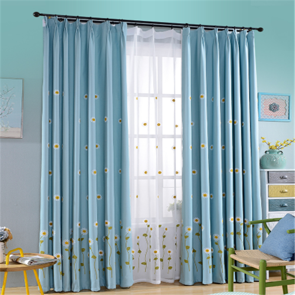 New curtain design Pastoralism style embroidered fabric blackout blind curtains