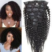 2016 Wholesale Double Weft 3 Piece Full Head Brazilian Human Hair Afro Kinky Curly Clip in Hair Extensions For Black Women