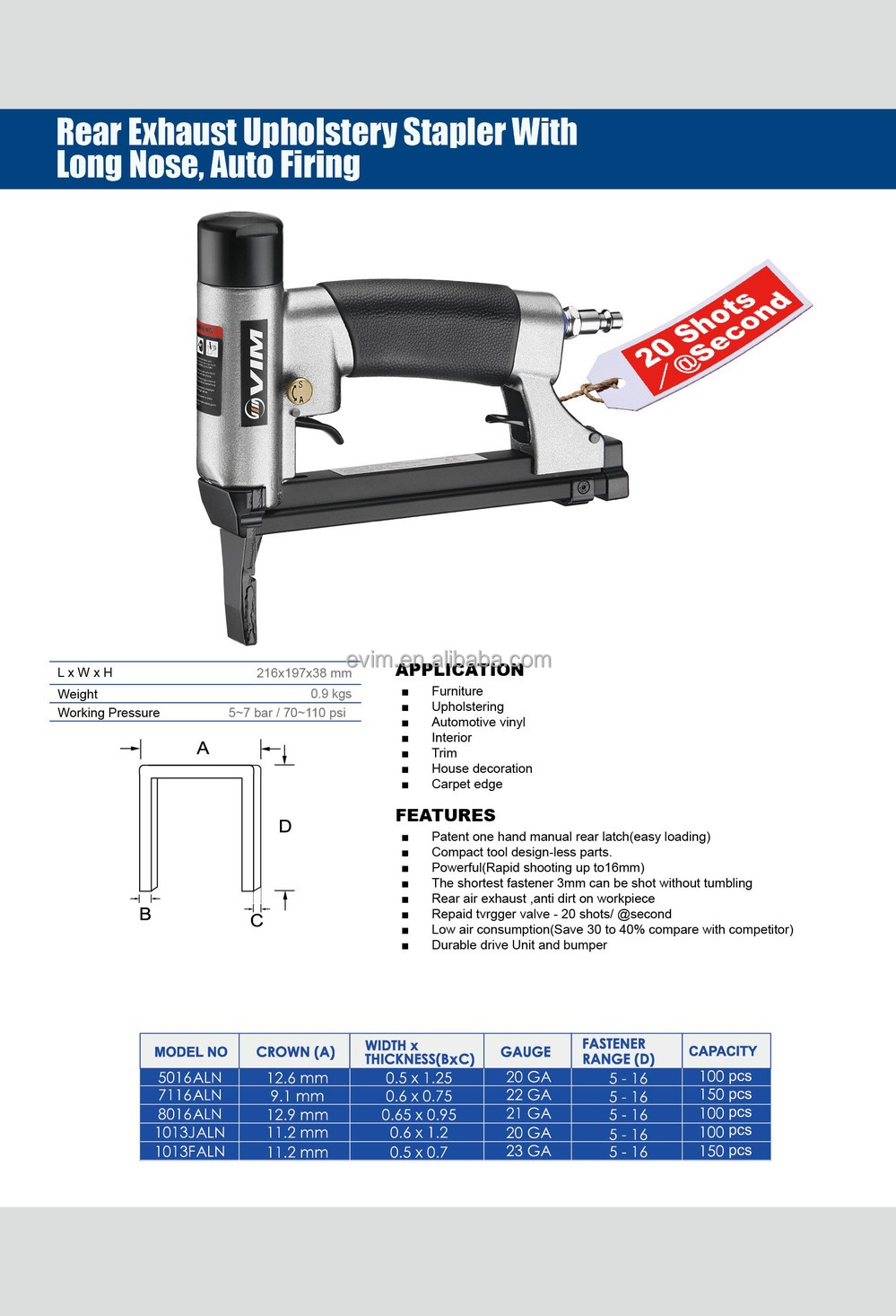 5016ALN 20 Gauge Rear Exhaust Upholstery Stapler with Long Nose, Auto Firing