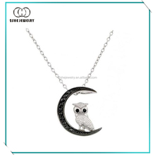 Black and white gold plated sterling silver owl with moon necklace