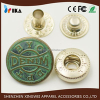 custom metal brass thin bronze snap fastener button for jeans coat